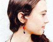 Orange and Purple Carnelian Sunset Earrings with Amethyst Drops for Samhain or Halloween