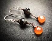 Victorian Gothic Carnelian Lantern Earrings. Gas Lamp Earrings