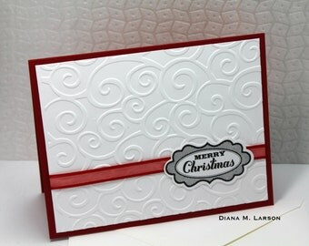 Merry Christmas- Elegant embossed card red white and black