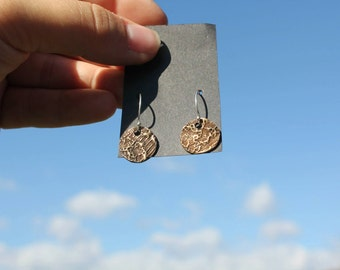Bronze lace imprint earrings