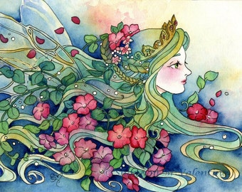 "Fantasy Art Print ""Titania"" Queen of the Faeries Art Print"