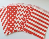 Red Party Favor Bags 5x7 RED Paper Treat Bags Candy Buffet Party Favor Wedding Favor Bags Goodie Bags Popcorn Bakery Bags- 20 count