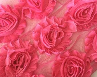 "Sweet Pink Shabby Rose Trim 2.5"" Shabby Flowers Shabby Chiffon Flowers Solid Shabby Chic Trim Wholesale Rosette trim 6cm 1 yard #208"