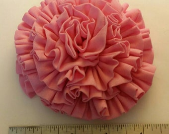 Pink cotton ruffle hair bow