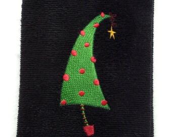 Retro Christmas Tree Embroidered on a black kithen or bath towel