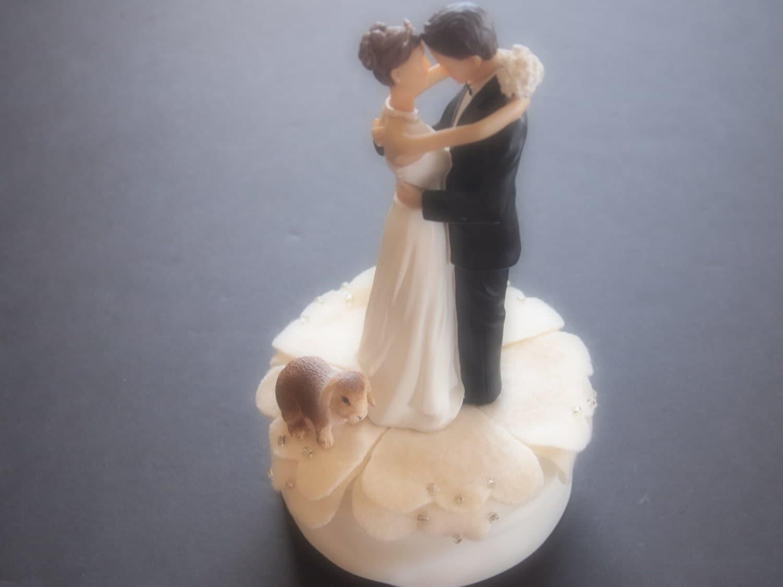 Cake Topper Wedding Ivory Brown Rabbit by ArtisanFeltStudio