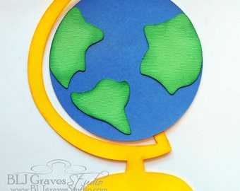 Premade Paper Piecing for Scrapbook Page School Globe Handmade