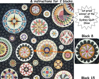 Lots of Dots BOM - Month 6. Patterns and instructions for two blocks as pictured.