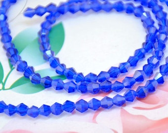 "115Beads 19"" faceted 4mm shiny AB Blue glass beads,Loose beads, Loose Strand"