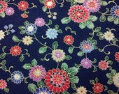 Small daisy, navy blue, gold metallic,1/2 yard, pure cotton fabric