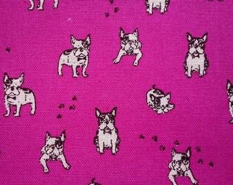 Small black bulldog, fuchsia purple, fat quarter, pure cotton fabric