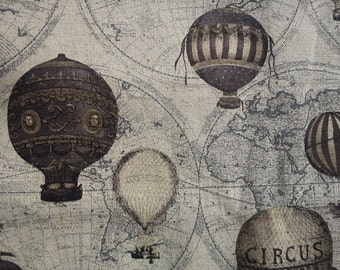 Hot air balloons, brown, 1/2 yard, cotton linen blended fabric