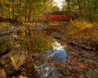 Cabin Run Covered Bridge in Autumn, Landscape Photography, Reflection, Stream, Fall Foliage, Bucks County, Pennsylvania, Color Photograph,