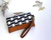 Navy aztec print and brown leather wristlet clutch by rouge and whimsy