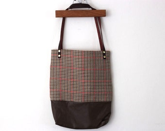 red and brown tweed leather tote bag // tweed tote // leather tote by rouge and whimsy