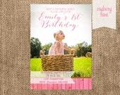 1st Photo Birthday Invite-Adorable Girl First Birthday Party-Casbury Lane