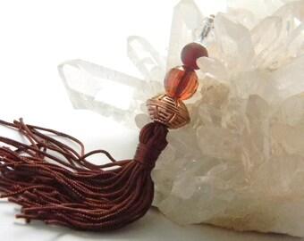 Constantia-tassel purse charm,purse charm,charm,zipper puler,purse accessories,beaded purse charm,beaded zipper puller,brown purse charm