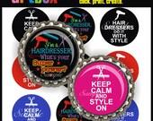I'm A Hairdresser... What's Your Super Power Bottle Cap Images - 4X6 Digital Collage Sheet - BottleCap 1 Inch Circles for Badge Reels