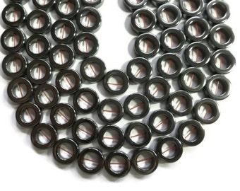 Hematite - Non Magnetic  - 12mm Ring or Donut - Full Strand - 33 beads