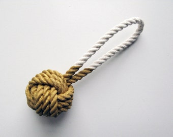 Gold Painted Monkey's Fist Knot - Ornament