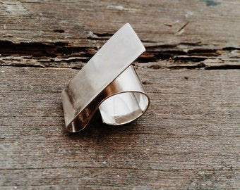 Sterling Silver Rectangle Ring, Sterling Silver Statement Ring