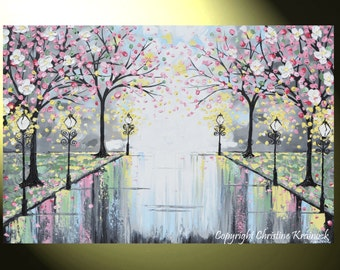 "ART PRINTS Abstract Painting Pink Blossoming Cherry Trees LARGE Wall Art Wall Decor Park Flowers Canvas Prints Grey Sizes to 60"" - Christine"