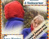 PDF Crochet Pattern Cabled Neckwarmer & Hood Aran