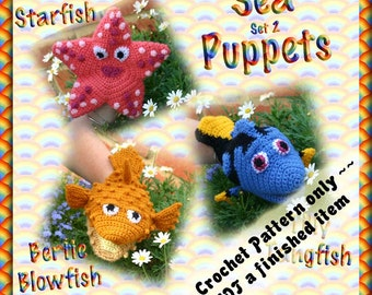 PDF Crochet Pattern Sea Puppets set 2