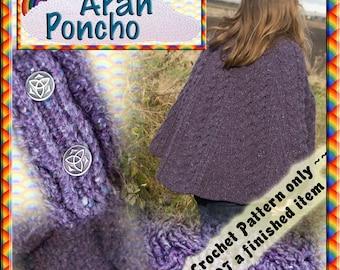 PDF Crochet Pattern Aran Poncho