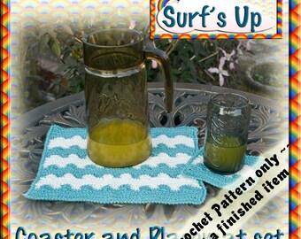 PDF Crochet Pattern Surfs Up Coaster Set