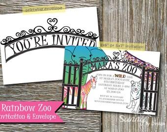 "Rainbow Zoo / Safari 4x6"" or 5x7 printable invitation and envelope"