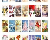 Christmas clipart, instant download, domino pendant--church, Christmas trees, winter snow--printable digital collage sheet, 8.5 by 11 1883