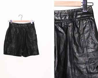 Vintage Black Leather High Waist Shorts
