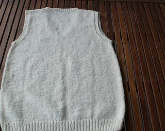 V neck handknit cotton cream slipover jumper Rowan