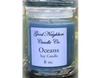 Oceans 8 oz  Soy Candle, Heavy Glass Container with Fitted Lid, Cotton Wick, Blue Candle