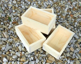 Solid Pine Boxes, set of 4