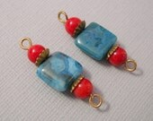 Natural Gemstone Connector Square Larimar and Round Red Coral.