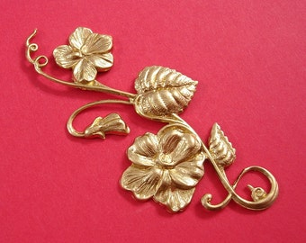 Large Branch  Leaf Flowers Embellishment  Raw  Brass  Stamping Pendant .