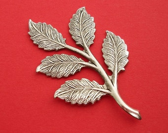 2-Large Branch  Leaf Embellishment    Ox Silver over Brass  Stamping Pendant .