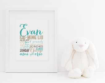 "REMEMBER the day™ - 8x10"" Custom Memory Announcement - Birth Story - Keepsake - Custom - Fine Art Print"