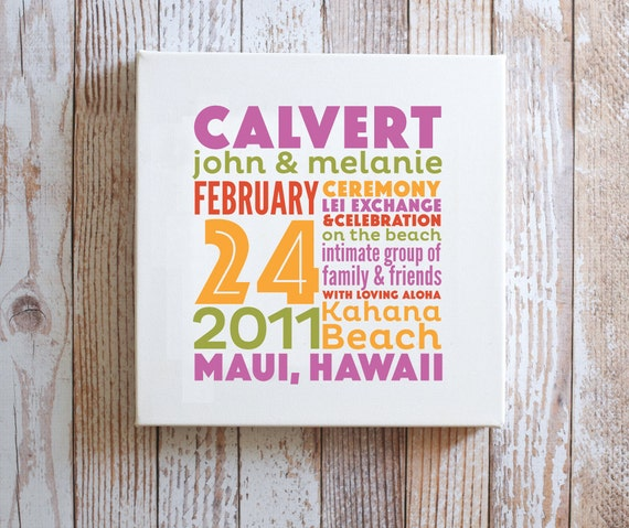REMEMBER the day™ Canvas - Custom Memory Announcement - Wedding Story - Keepsake - Custom - Gallery Wrapped Canvas - multiple typeface