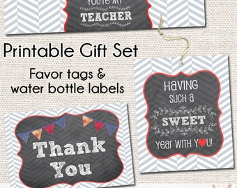 Sweet Year Teacher Thank You Gift Printable Set - Water Bottle Labels - Sweet Year - Gift Tags - Teacher Appreciation - Instant Download