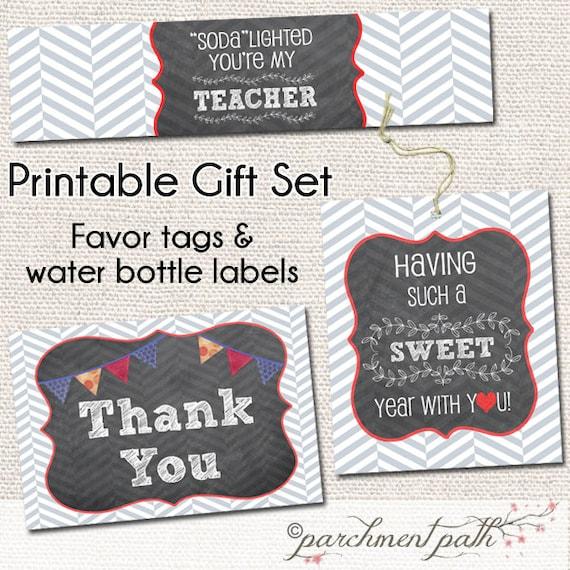 Sweet Year Teacher Thank You Gift Printable Set Water Bottle