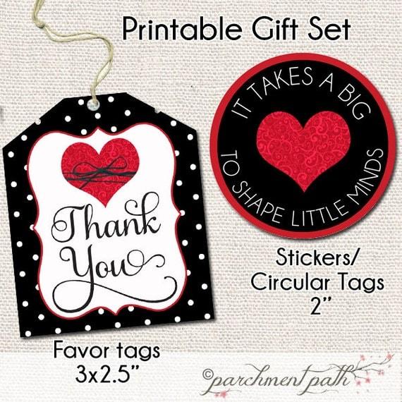 Teacher Thank You Gift Printable Set - Stickers - Printable Gift Tags ...