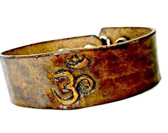 meditation gift - meditation bracelet - om shanti - om namah shivaya - om symbol - prayer bracelet - spiritual gift - leather cuff bracelet