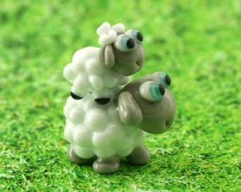 Sheep glass miniature sculpture figurine lampwork beads Set of two figurine Mommy and son Sheep Lampwork  bead/sculpture / miniature animal