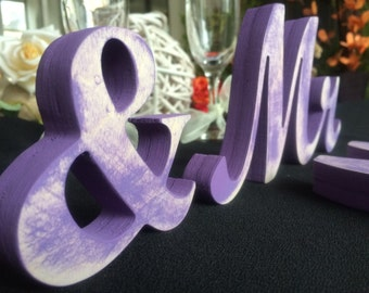 Rustic  distressed purple Mr. & Mrs. letters, nautical wedding, sweetheart table - DIY not painted, painted, wedding sign Mr and  Mrs