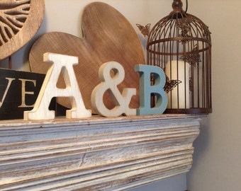 Free-standing Wooden Wedding Letters - Set of 3 - Hand-painted Photo Props - 15cm