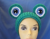 Crochet Animal Ear Warmers, Frog Eyes Headband-Women accessories, Animal Headband Ready to ship