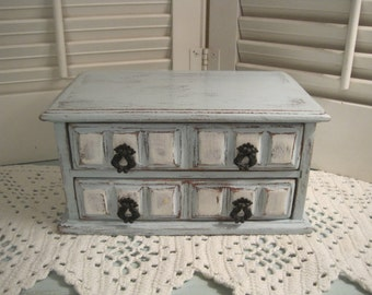 French Country Wood Jewelry Chest - Shabby Chic Distressed in Blue & White